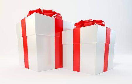 Gift box, Christmas, New Year, birthday, on white background illustration 3d rendering