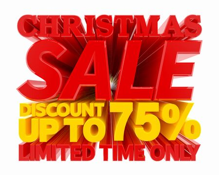 CHRISTMAS SALE DISCOUNT UP TO 75 % LIMITED TIME ONLY 3D rendering 스톡 콘텐츠