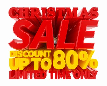 CHRISTMAS SALE DISCOUNT UP TO 80 % LIMITED TIME ONLY 3D rendering 스톡 콘텐츠