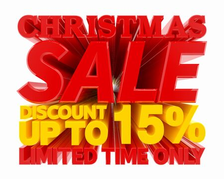 CHRISTMAS SALE DISCOUNT UP TO 15 % LIMITED TIME ONLY 3D rendering 스톡 콘텐츠