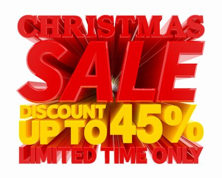 CHRISTMAS SALE DISCOUNT UP TO 45 % LIMITED TIME ONLY 3D rendering 스톡 콘텐츠