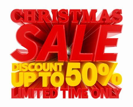 CHRISTMAS SALE DISCOUNT UP TO 50 % LIMITED TIME ONLY 3D rendering 스톡 콘텐츠