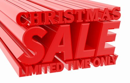 CHRISTMAS SALE LIMITED TIME ONLY word on white background 3D rendering 스톡 콘텐츠