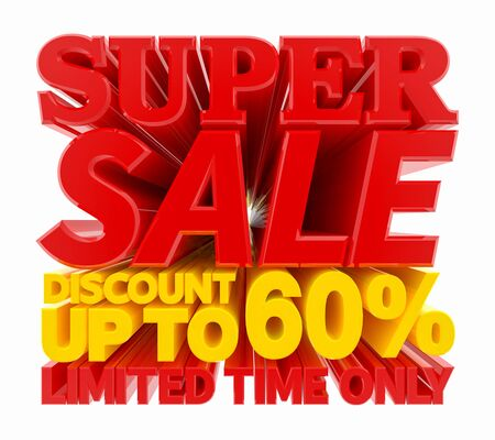 SUPER SALE DISCOUNT UP TO 60 % LIMITED TIME ONLY 3D rendering 스톡 콘텐츠