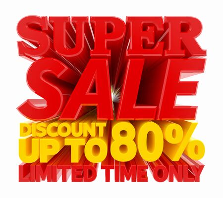 SUPER SALE DISCOUNT UP TO 80 % LIMITED TIME ONLY 3D rendering 스톡 콘텐츠