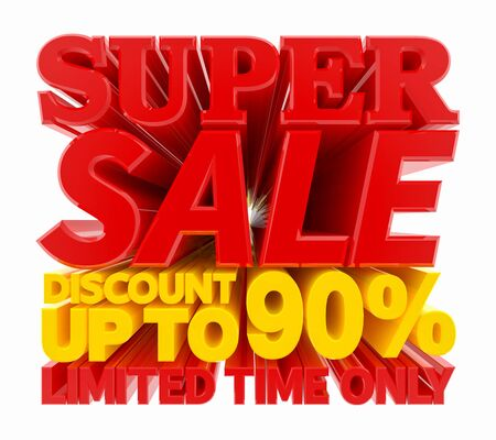 SUPER SALE DISCOUNT UP TO 90 % LIMITED TIME ONLY 3D rendering 스톡 콘텐츠