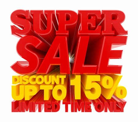 SUPER SALE DISCOUNT UP TO 15 % LIMITED TIME ONLY 3D rendering 스톡 콘텐츠