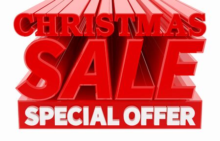 CHRISTMAS SALE SPECIAL OFFER word on white background 3D rendering 스톡 콘텐츠