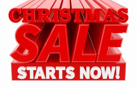 CHRISTMAS SALE STARTS NOW ! word on white background 3D rendering