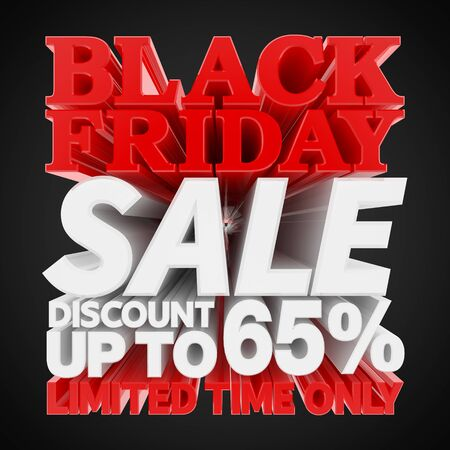 BLACK FRIDAY SALE DISCOUNT UP TO 65 % LIMITED TIME ONLY 3D rendering 스톡 콘텐츠
