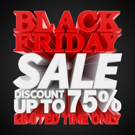 BLACK FRIDAY SALE DISCOUNT UP TO 75 % LIMITED TIME ONLY 3D rendering 스톡 콘텐츠