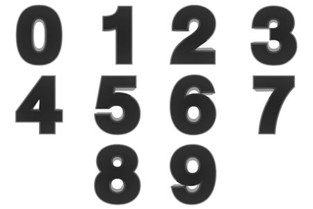 Number from 0 to 9 black color 3D rendering on white background 스톡 콘텐츠