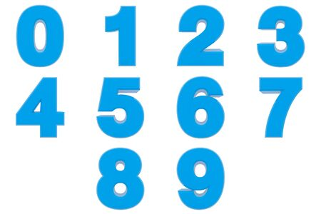 Number from 0 to 9 blue color 3D rendering on white background