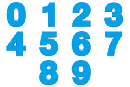 Nummer von bis 9 blaue Farbe 3D-Rendering auf weißem Hintergrund Standard-Bild