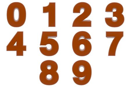 Number from 0 to 9 brown color 3D rendering on white background 스톡 콘텐츠