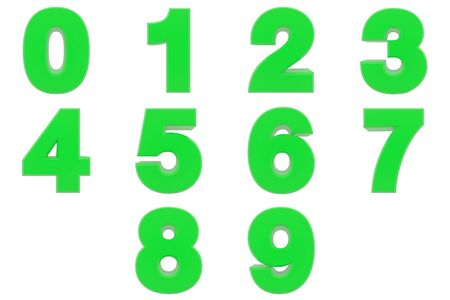 Number from 0 to 9 green color 3D rendering on white background