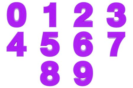 Number from 0 to 9 purple color 3D rendering on white background