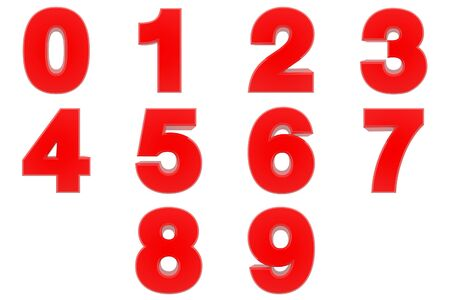 Number from 0 to 9 red color 3D rendering on white background