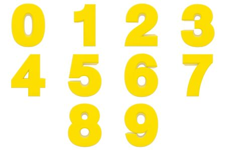 Number from 0 to 9 yellow color 3D rendering on white background