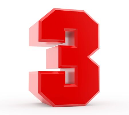 3d red number 3 collection on white background