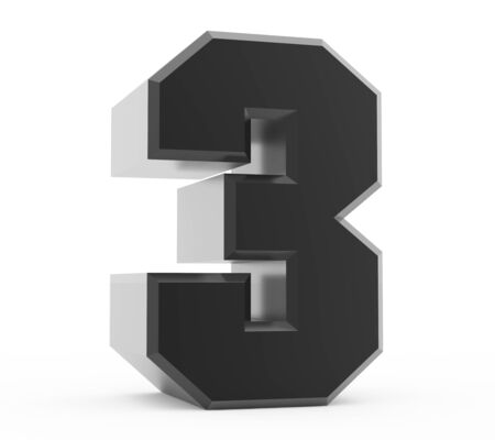 3d black number 3 collection on white background