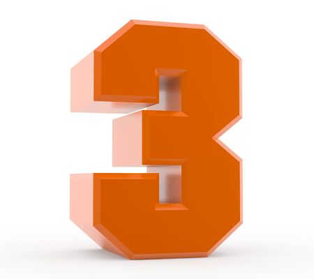 3d orange number 3 collection on white background 스톡 콘텐츠