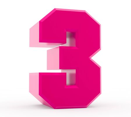 3d pink number 3 collection on white background 스톡 콘텐츠