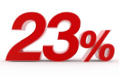 23 percent on white background illustration 3D rendering 스톡 콘텐츠