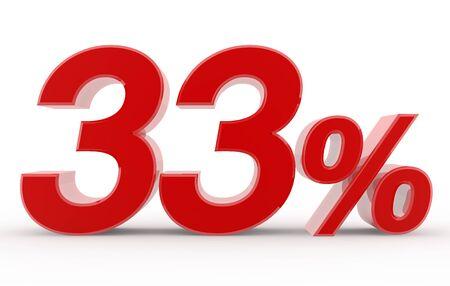 33 percent on white background illustration 3D rendering
