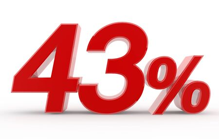 43 percent on white background illustration 3D rendering 스톡 콘텐츠