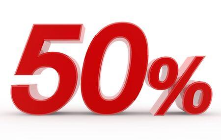 50 percent on white background illustration 3D rendering Foto de archivo