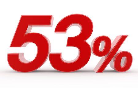 53percent on white background illustration 3D rendering