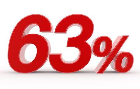 63 percent on white background illustration 3D rendering
