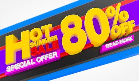 HOT SUMMER SALE 80 % OFF SPECIAL OFFER READ MORE, Sale background 3d rendering