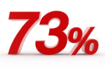 73 percent on white background illustration 3D rendering