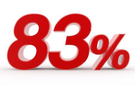 83 percent on white background illustration 3D rendering