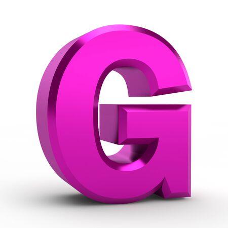 G pink alphabet word on white background illustration 3D rendering
