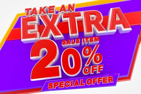 TAKE AN EXTRA SALE ITEM 20 % OFF SPECIAL OFFER 3d rendering Stok Fotoğraf