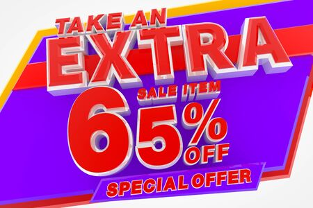 TAKE AN EXTRA SALE ITEM 65 % OFF SPECIAL OFFER 3d rendering Stok Fotoğraf
