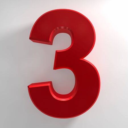 Number 3 red color collection on white background illustration 3D rendering 스톡 콘텐츠