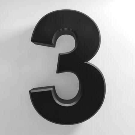 Number 3 black color collection on white background illustration 3D rendering 스톡 콘텐츠