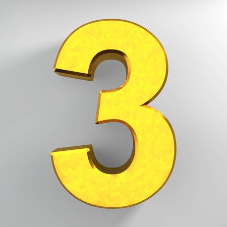 Number 3 gold color collection on white background illustration 3D rendering 스톡 콘텐츠