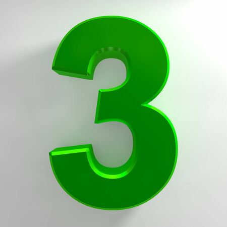 Number 3 green color collection on white background illustration 3D rendering 스톡 콘텐츠