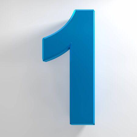 Number 1 blue color collection on white background illustration 3D rendering