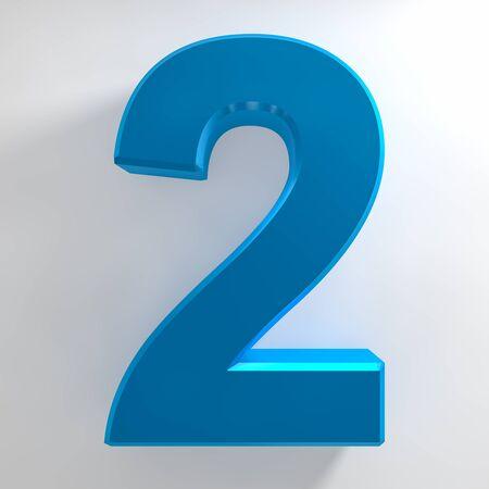 Number 2 blue color collection on white background illustration 3D rendering