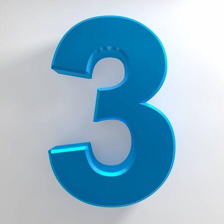 Number 3 blue color collection on white background illustration 3D rendering