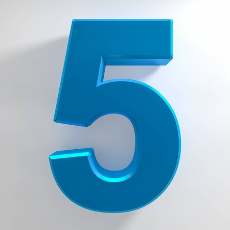 Number 5 blue color collection on white background illustration 3D rendering Stockfoto