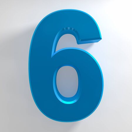Number 6 blue color collection on white background illustration 3D rendering Stockfoto - 137875638