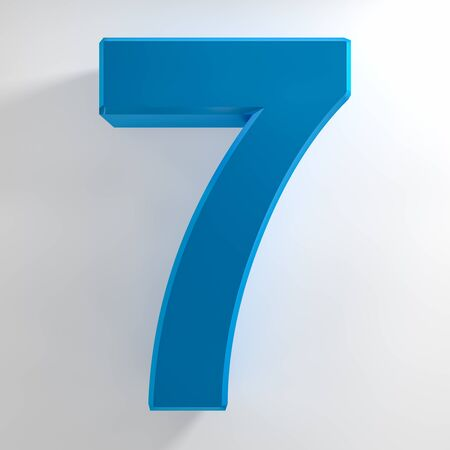 Number 7 blue color collection on white background illustration 3D rendering Stockfoto - 137875639