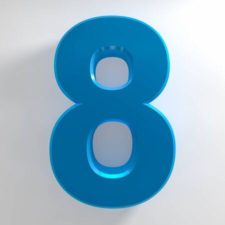 Number 8 blue color collection on white background illustration 3D rendering Stockfoto - 137875640
